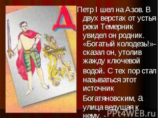 Петр I шел на Азов. В двух верстах от устья реки Темерник увидел он родник. «Бог
