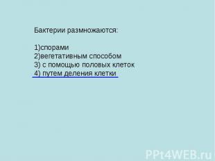 Бактерии размножаются: 1)спорами 2)вегетативным способом 3) с помощью половых кл