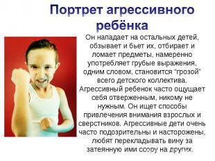 Портрет агрессивного ребёнка Он нападает на остальных детей, обзывает и бьет их,