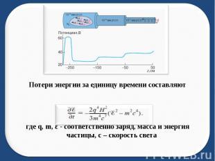 Потери энергии за единицу времени составляют где q, m, ε - соответственно заряд,