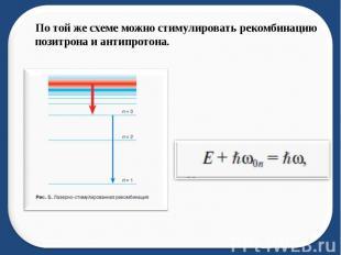 По той же схеме можно стимулировать рекомбинацию позитрона и антипротона.