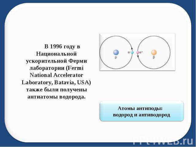 В 1996 году в Национальной ускорительной Ферми лаборатории (Fermi National Accelerator Laboratory, Batavia, USA) также были получены антиатомы водорода. Атомы антиподы: водород и антиводород