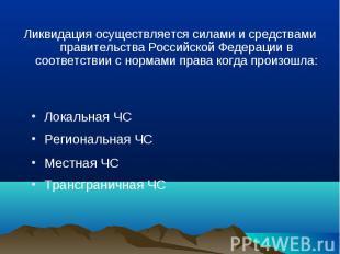 Ликвидация осуществляется силами и средствами правительства Российской Федерации
