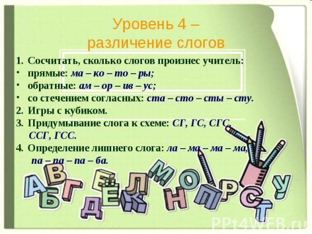 Уровень 4 – различение слогов Сосчитать, сколько слогов произнес учитель: прямые: ма – ко – то – ры; обратные: ам – ор – ив – ус; со стечением согласных: ста – сто – сты – сту. Игры с кубиком. Придумывание слога к схеме: СГ, ГС, СГС, ССГ, ГСС. Опред…