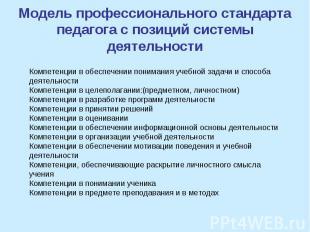 Модель профессионального стандарта педагога с позиций системы деятельности Компе