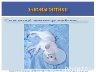 Законы оптикиПлоское зеркало даёт мнимое симметричное изображение