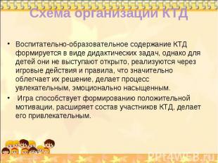 Схема организации КТД Воспитательно-образовательное содержание КТД формируется в