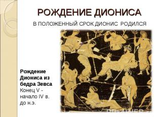 РОЖДЕНИЕ ДИОНИСА В ПОЛОЖЕННЫЙ СРОК ДИОНИС РОДИЛСЯ Рождение Диониса из бедра Зевс