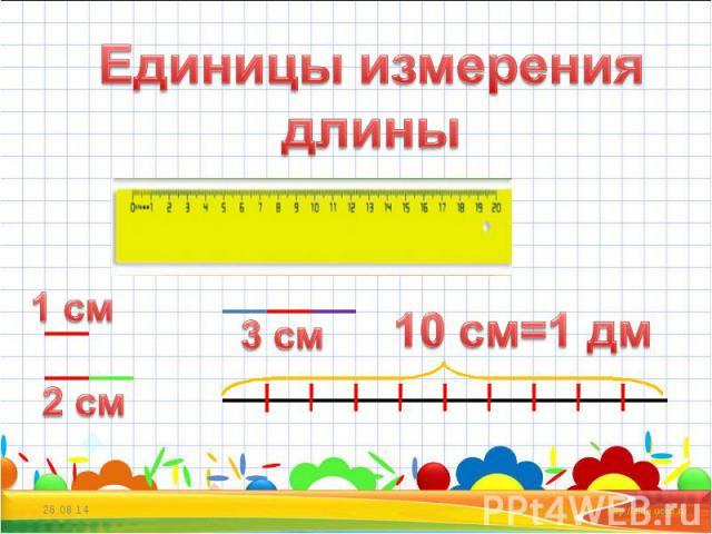 Единицы измерения длины 10 см=1 дм
