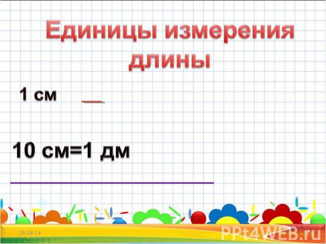 Единицы измерения длины 1 см 10 см=1 дм