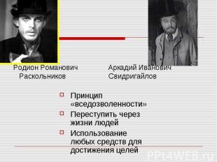 Родион Романович Аркадий Иванович Раскольников Свидригайлов Принцип «вседозволен