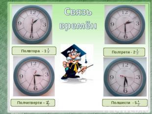 Связь времён Полвтора - 1 Полчетверти – 3 Полтрети - 2 Полшести - 5