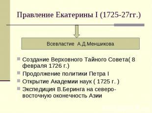 Правление Екатерины I (1725-27гг.) Всевластие А.Д.Меншикова Создание Верховного