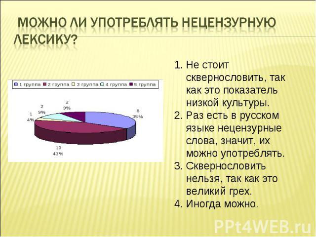 Можно ли употреблять нецензурную лексику? Не стоит сквернословить, так как это показатель низкой культуры. Раз есть в русском языке нецензурные слова, значит, их можно употреблять. Сквернословить нельзя, так как это великий грех. Иногда можно.