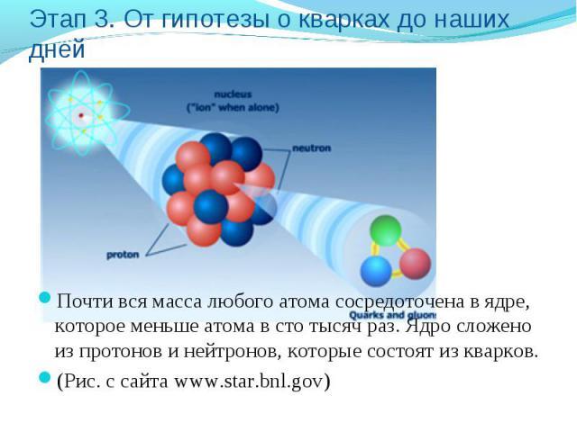 Этап 3. От гипотезы о кварках до наших дней Почти вся масса любого атома сосредоточена в ядре, которое меньше атома в сто тысяч раз. Ядро сложено из протонов и нейтронов, которые состоят из кварков. (Рис. с сайта www.star.bnl.gov)