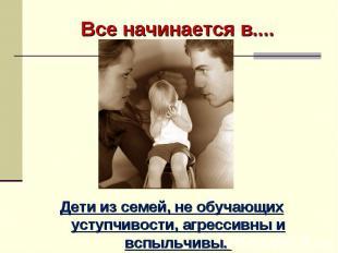 Все начинается в.... Семье….. Дети из семей, не обучающих уступчивости, агрессив