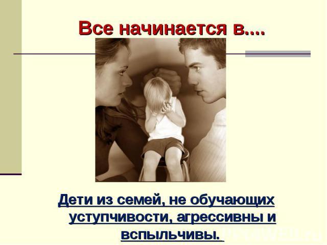 Все начинается в.... Семье….. Дети из семей, не обучающих уступчивости, агрессивны и вспыльчивы.