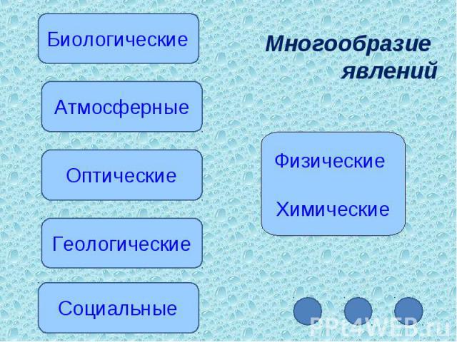 Многообразие явленийФизические Химические