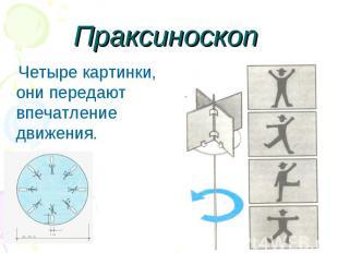 Праксиноскоп Четыре картинки, они передают впечатление движения.