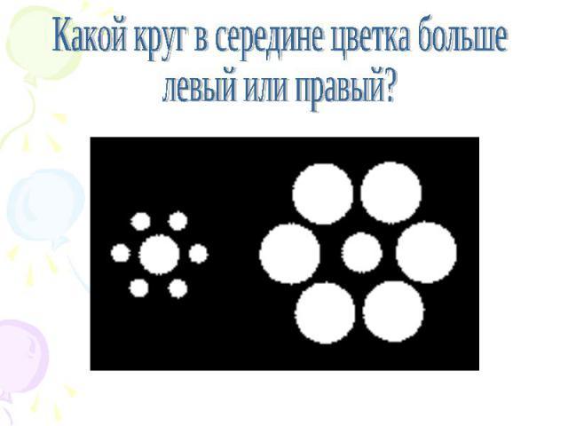 Какой круг в середине цветка больше левый или правый?