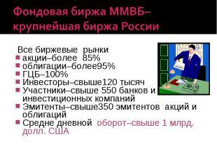 Фондовая биржа ММВБ–крупнейшая биржа России Все биржевые рынки акции–более 85% о