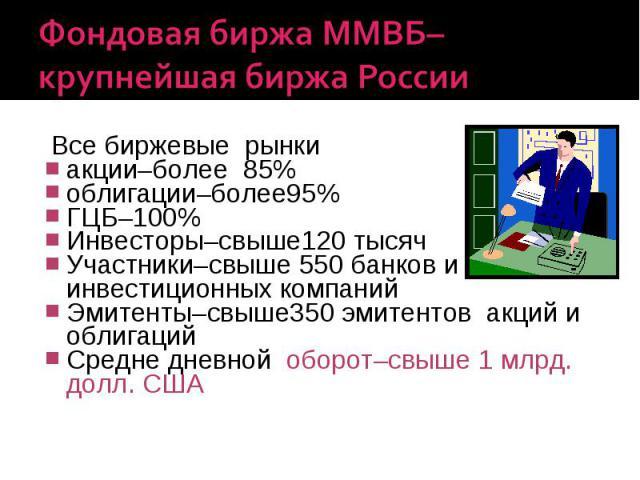 Фондовая биржа ММВБ–крупнейшая биржа России Все биржевые рынки акции–более 85% облигации–более95% ГЦБ–100% Инвесторы–свыше120 тысяч Участники–свыше 550 банков и инвестиционных компаний Эмитенты–свыше350 эмитентов акций и облигаций Средне дневной обо…