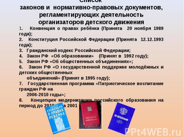 Список законов и нормативно-правовых документов, регламентирующих деятельность организаторов детского движения 1. Конвенция о правах ребёнка (Принята 20 ноября 1989 года); 2. Конституция Российской Федерации (Принята 12.12.1993 года); 3. Гражданский…