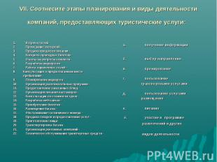 VII. Соотнесите этапы планирования и виды деятельности компаний, предоставляющих