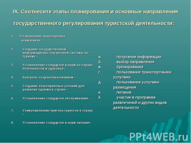 IX. Соотнесите этапы планирования и основные направления государственного регулирования туристской деятельности: