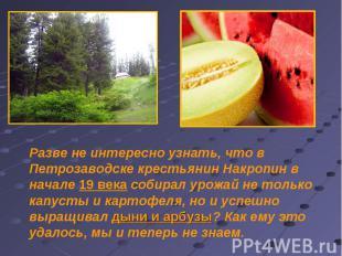 Разве не интересно узнать, что в Петрозаводске крестьянин Накропин в начале 19 в