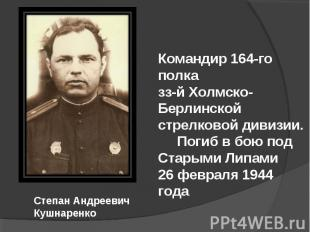 Командир 164-го полка зз-й Холмско-Берлинской стрелковой дивизии. Погиб в бою по