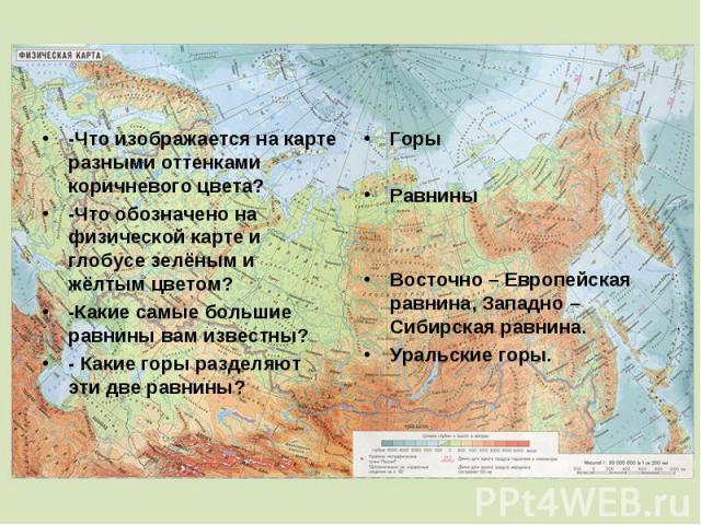 -Что изображается на карте разными оттенками коричневого цвета? -Что обозначено на физической карте и глобусе зелёным и жёлтым цветом? -Какие самые большие равнины вам известны? - Какие горы разделяют эти две равнины? Горы Равнины Восточно – Европей…