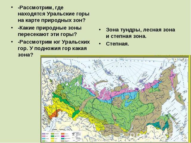 -Рассмотрим, где находятся Уральские горы на карте природных зон? -Какие природные зоны пересекают эти горы? -Рассмотрим юг Уральских гор. У подножия гор какая зона? Зона тундры, лесная зона и степная зона. Степная.