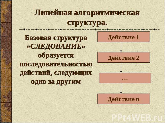 Линейная алгоритмическая структура. Базовая структура «СЛЕДОВАНИЕ» образуется последовательностью действий, следующих одно за другим