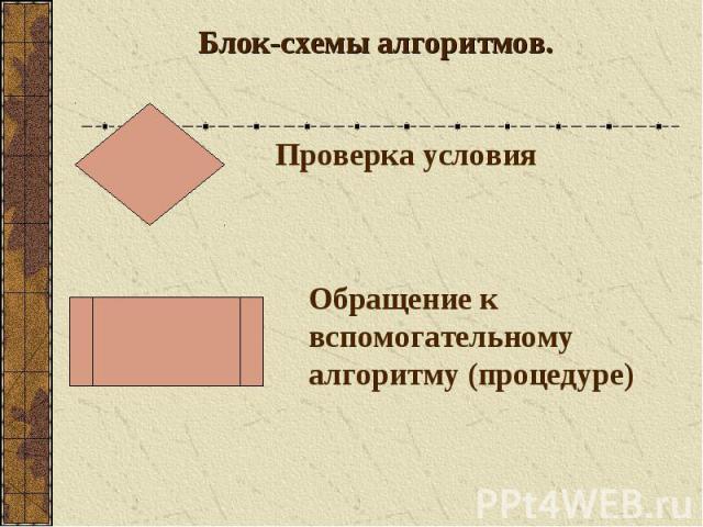 Блок-схемы алгоритмов. Проверка условия Обращение к вспомогательному алгоритму (процедуре)
