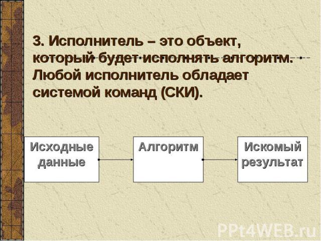3. Исполнитель – это объект, который будет исполнять алгоритм. Любой исполнитель обладает системой команд (СКИ).