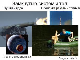 Замкнутые системы тел Пушка - ядро Оболочка ракеты - топливо Планета и её спутни