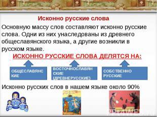 Исконно русские слова Основную массу слов составляют исконно русские слова. Одни