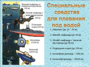 Специальные средства для плавания под водой 1. Акваланг (до 15 – 20 м) 2. Мягкий