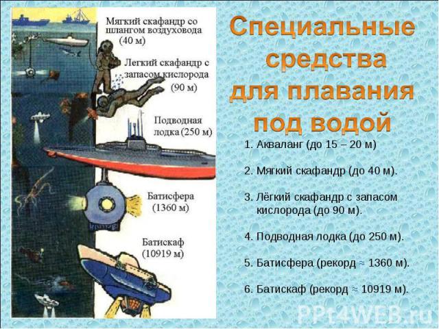 Специальные средства для плавания под водой 1. Акваланг (до 15 – 20 м) 2. Мягкий скафандр (до 40 м). 3. Лёгкий скафандр с запасом кислорода (до 90 м). 4. Подводная лодка (до 250 м). 5. Батисфера (рекорд ≈ 1360 м). 6. Батискаф (рекорд ≈ 10919 м).