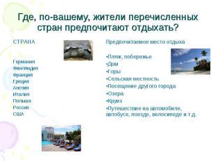 Где, по-вашему, жители перечисленных стран предпочитают отдыхать?