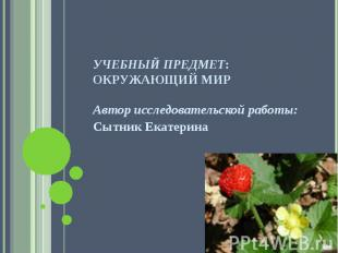 Учебный предмет: окружающий мир Автор исследовательской работы: Сытник Екатерина