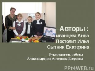 Авторы : Побиванцева Анна Постолит Илья Сытник Екатерина Руководитель работы Але