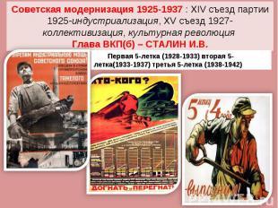 Советская модернизация 1925-1937 : XIV съезд партии 1925-индустриализация, XV съ