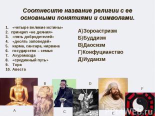 Соотнесите название религии с ее основными понятиями и символами. «четыре велики