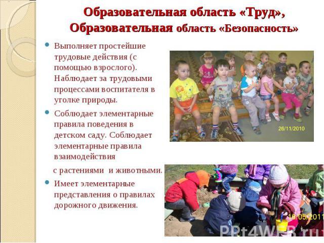 Образовательная область «Труд», Образовательная область «Безопасность»  Выполняет простейшие трудовые действия (с помощью взрослого). Наблюдает за трудовыми процессами воспитателя в уголке природы. Соблюдает элементарные правила поведения в детском…