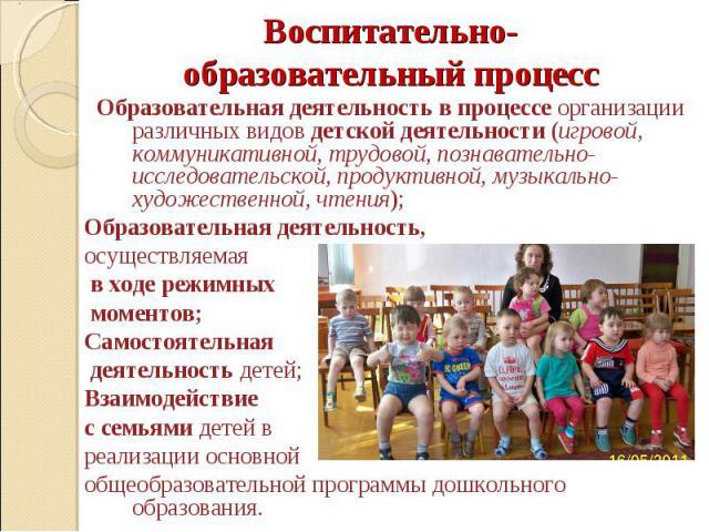 Воспитательно-образовательный процесс Образовательная деятельность в процессе организации различных видов детской деятельности (игровой, коммуникативной, трудовой, познавательно-исследовательской, продуктивной, музыкально-художественной, чтения); Об…