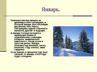 Январь. Название месяца пришло из древнерусского календаря, в котором январь был