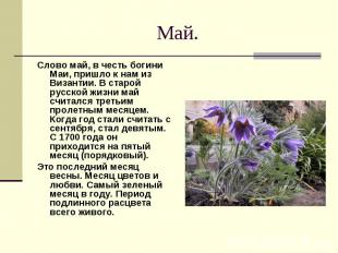 Май. Слово май, в честь богини Маи, пришло к нам из Византии. В старой русской ж