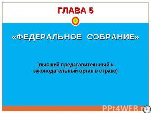 ГЛАВА 5 «ФЕДЕРАЛЬНОЕ СОБРАНИЕ» (высший представительный и законодательный орган